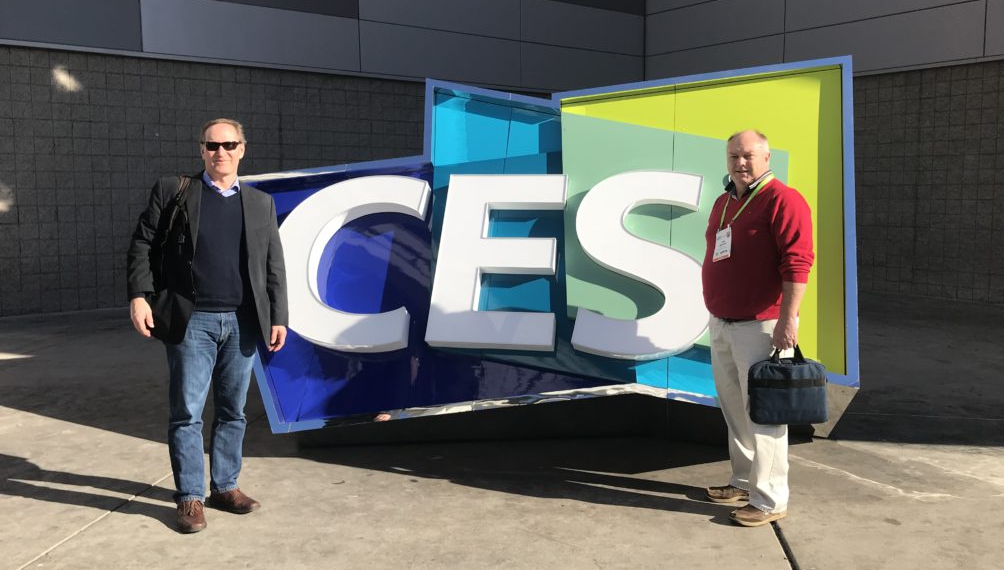 Design 1st VP of Electronics Peter Coutrau and VP of Operations Ian Kayser outside CES 2018 in Las Vegas